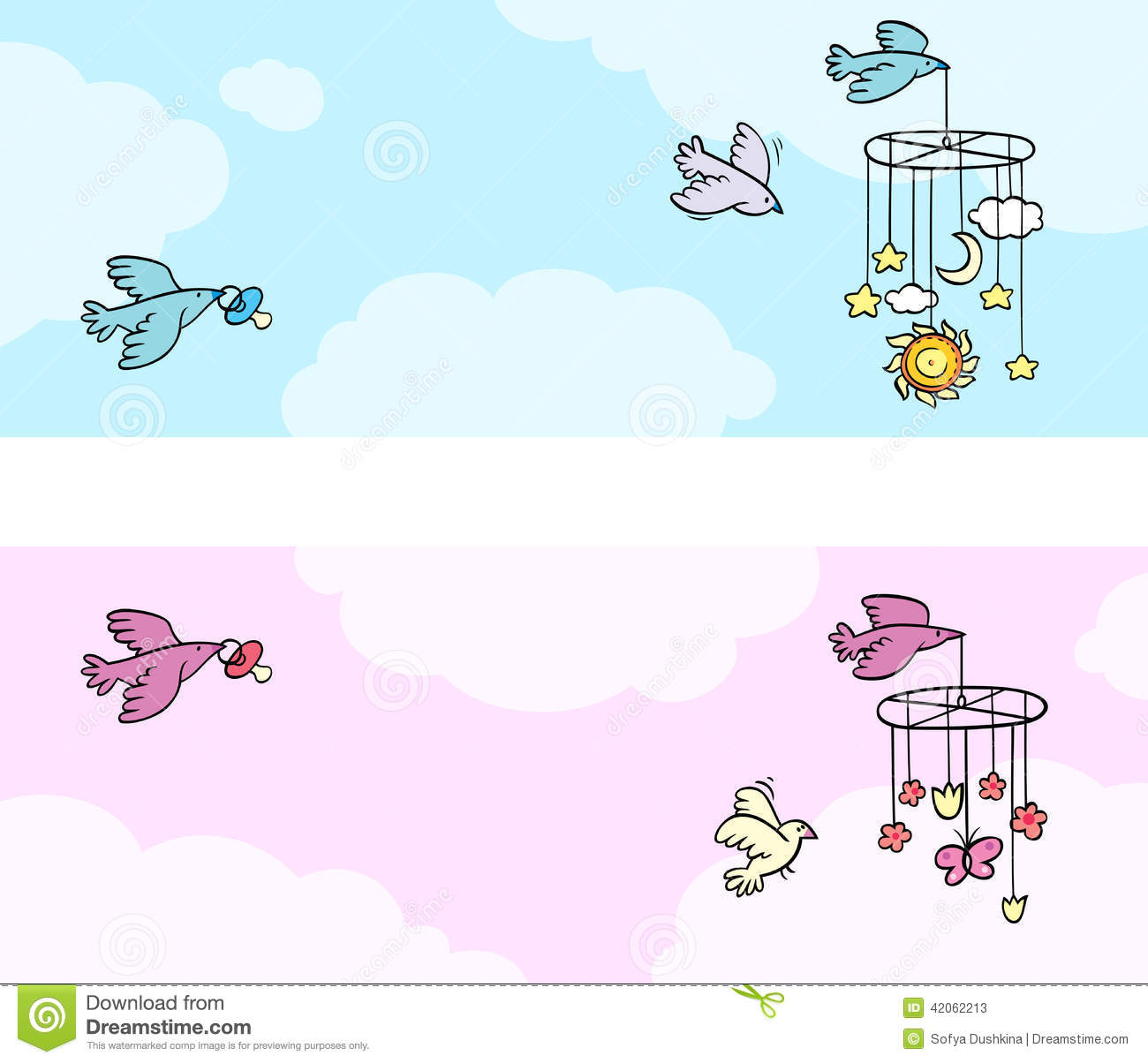 set of two newborn theme banners with flying birds illustration