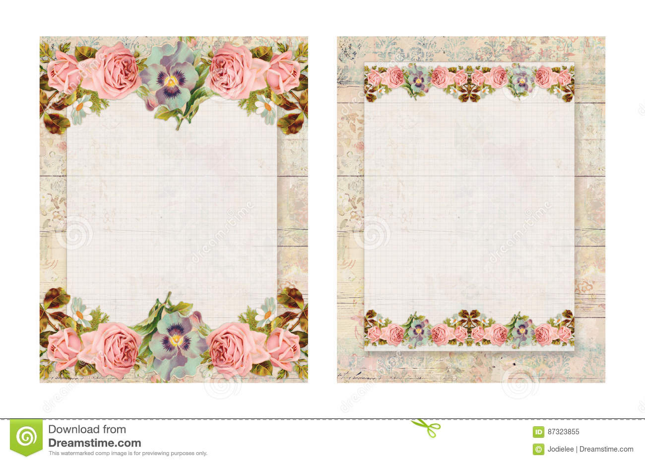 Set of two printable vintage shabby chic style floral rose for Rideaux style shabby chic