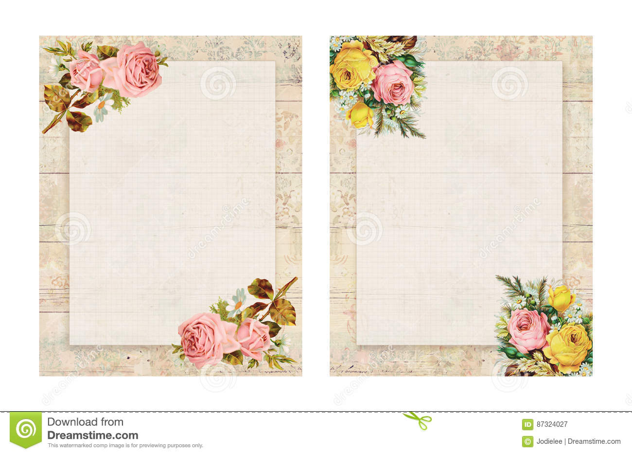 Set of two printable vintage shabby chic style floral rose for Lampadaire style shabby