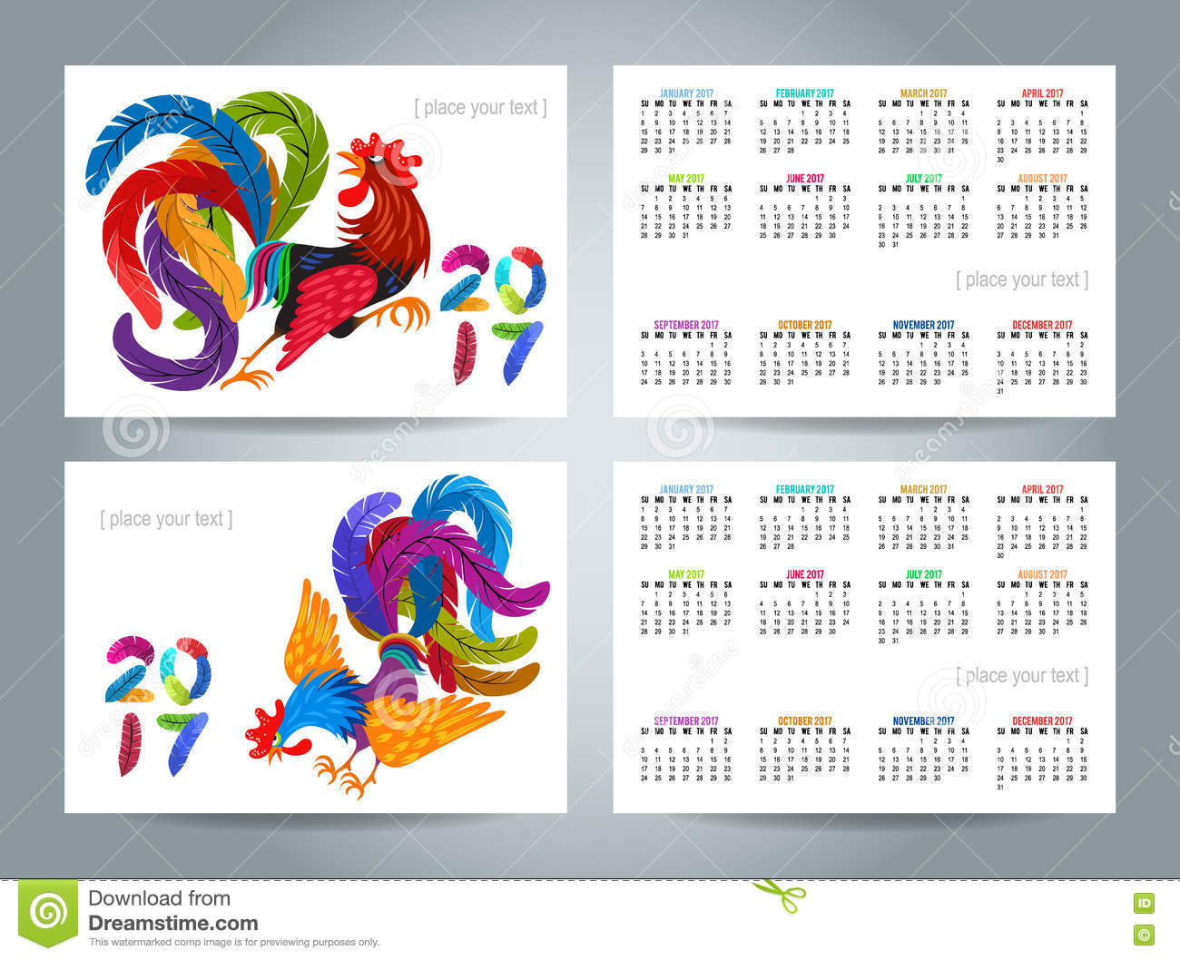 Calendar Design Drawing : Roosters with graphic patterns made by hand symbol of
