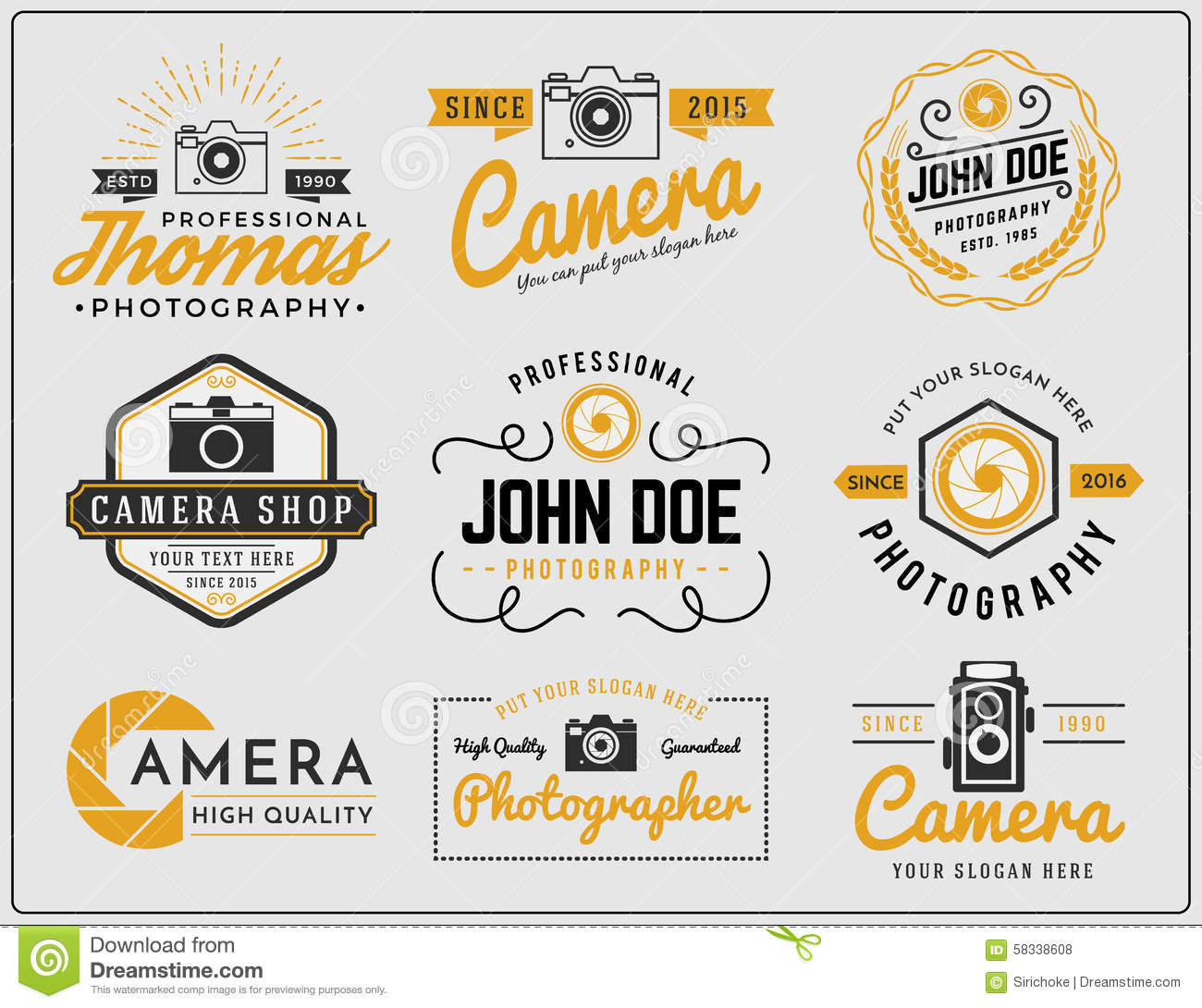 Set of two tone colors photography and camera service logo insignia design