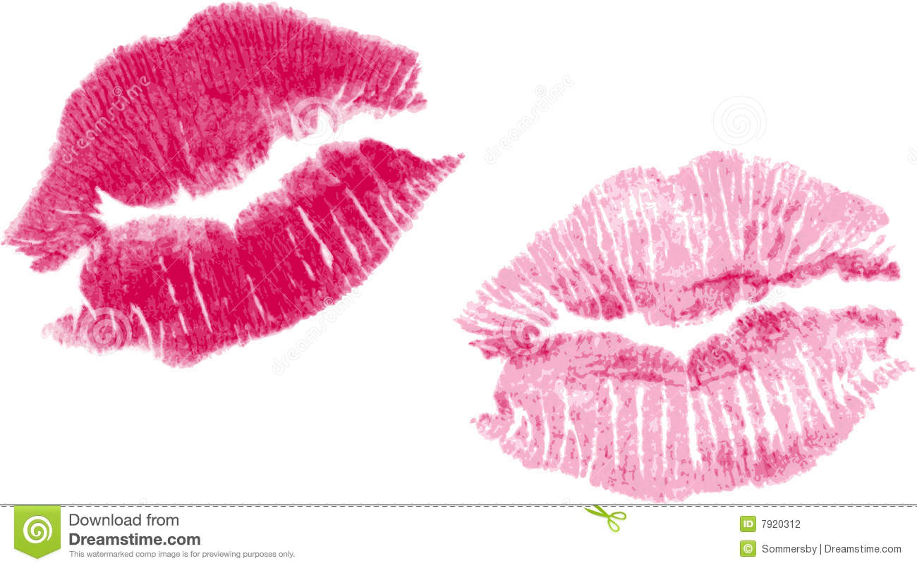 Set Of Two Vector Lipstick Kisses Stock Photography ...