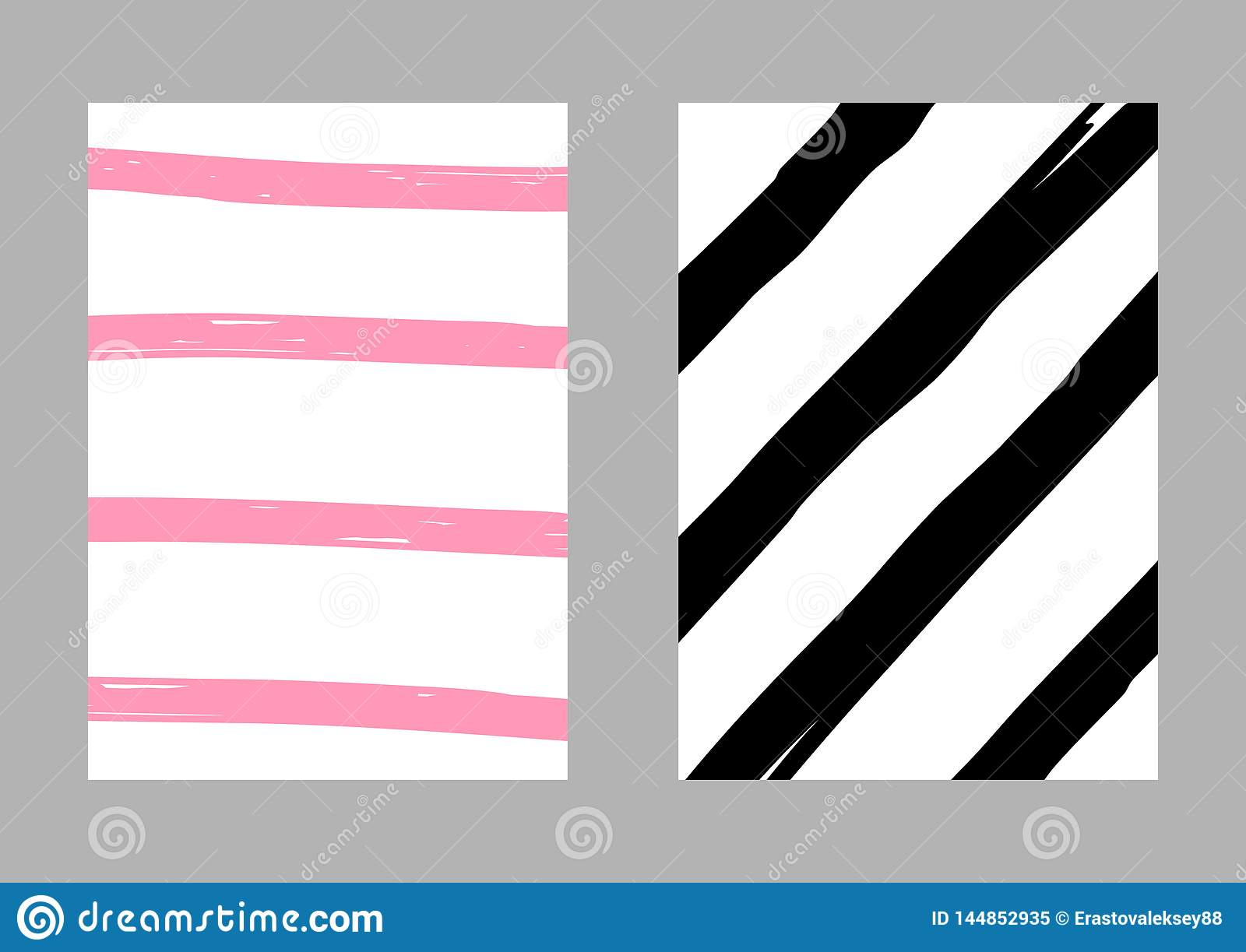 Set of two vertical  striped templates drawn by hand. Sketch, grunge, paint. Vector illustration. White, pink, black.