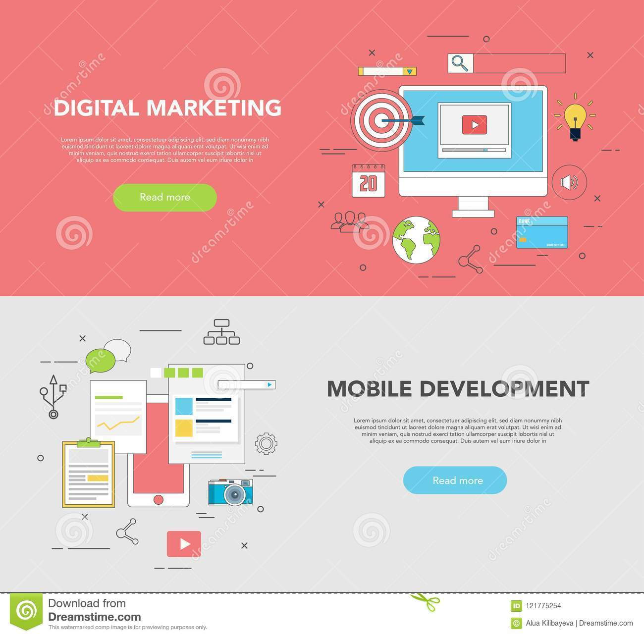 Set Of Two Web Banners For Graphic Design And Web Development Digital Marketing Stock Vector Illustration Of Application Internet 121775254