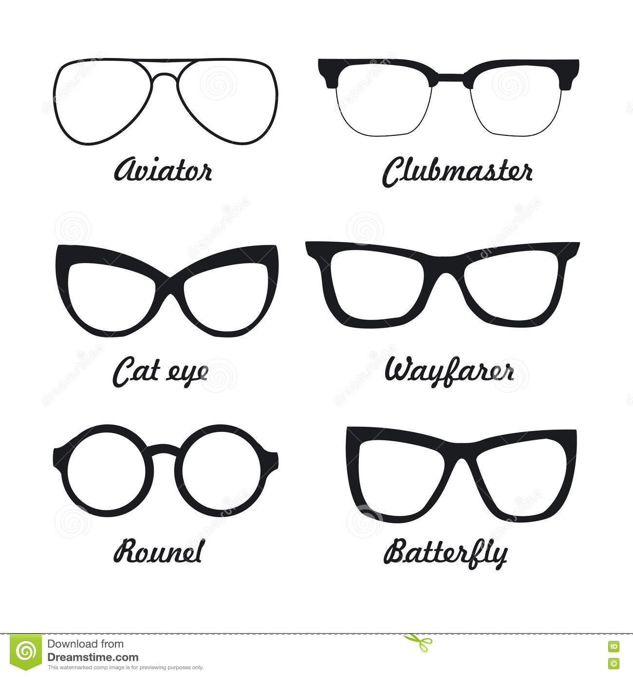 Different Types Of Glasses Frames Names : Set Types Of Sunglasses Stock Vector - Image: 75152251