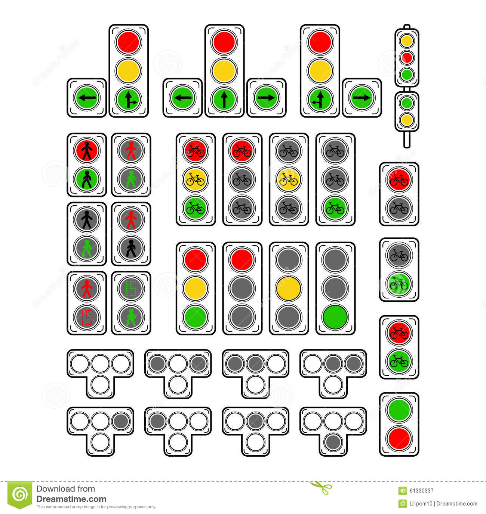Set Of Types Traffic Lights Stock Vector Image 61330337