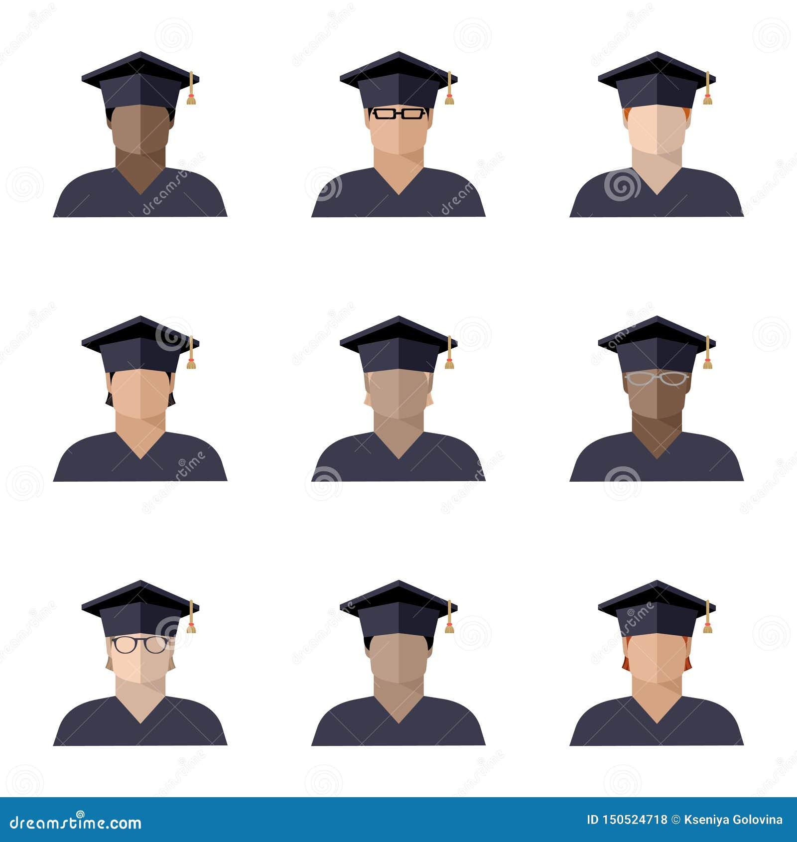 Set uczeń chłopiec ustawiać w magisterskiej nakrętce różne rasy, narodowości i kolory skórzy, koloru wizerunek, ikona
