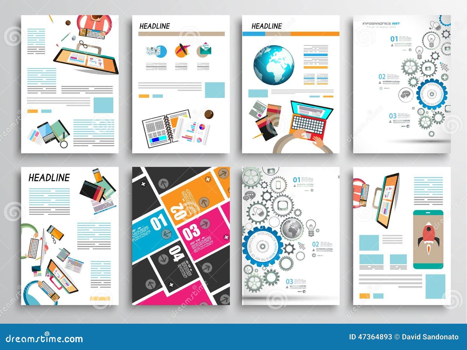 Set ulotka projekt, sieć szablony Broszurka projekty, Infographics tła