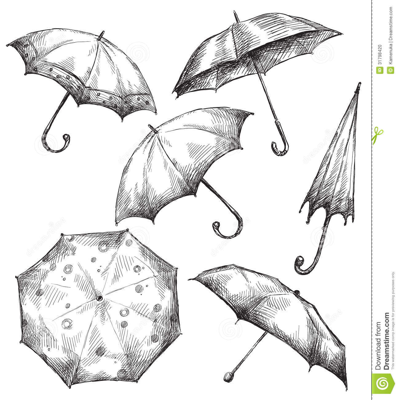 Set of umbrella drawings hand drawn stock vector - Dessin parapluie ...
