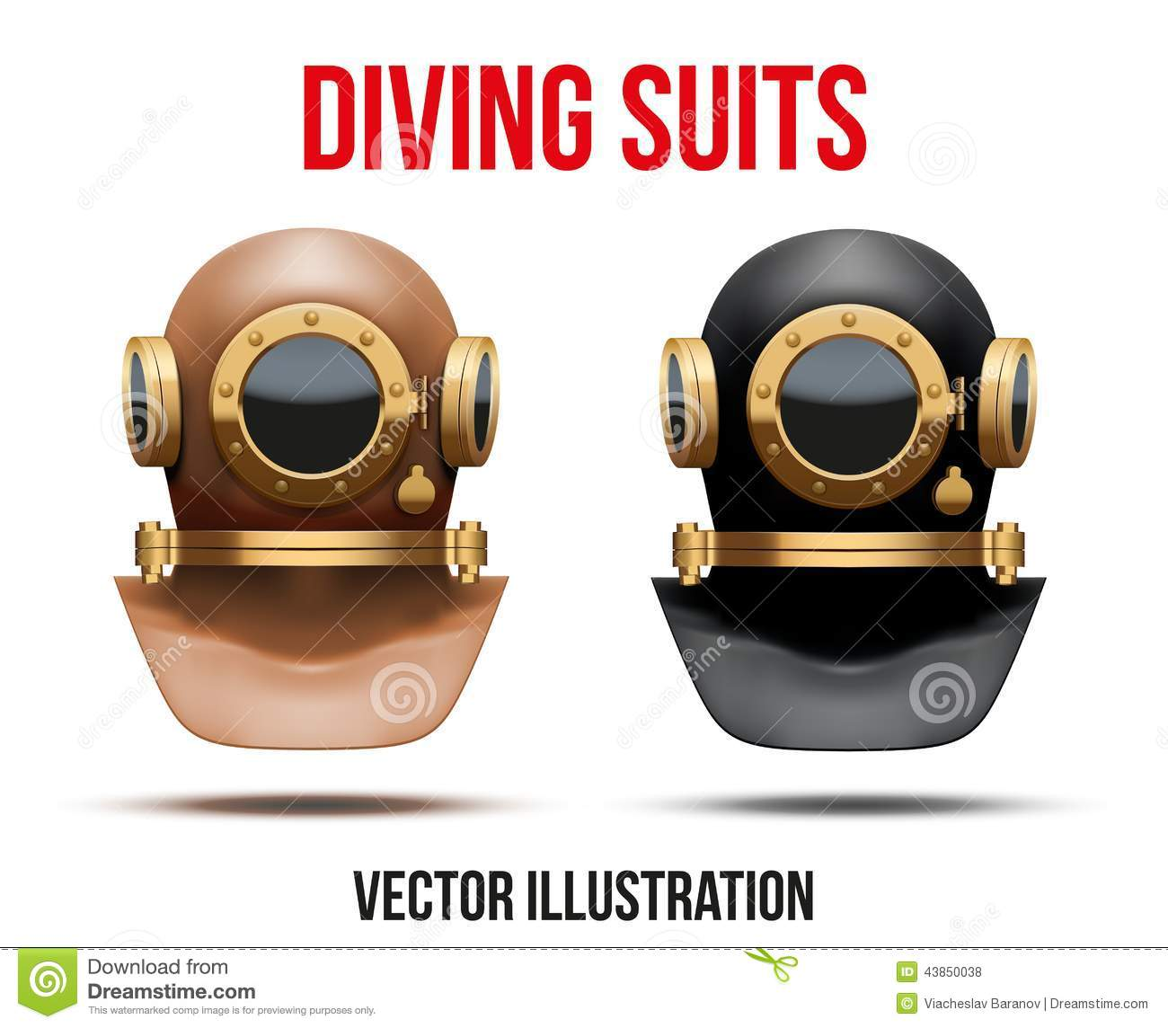 set of underwater diving suit helmet vector stock vector