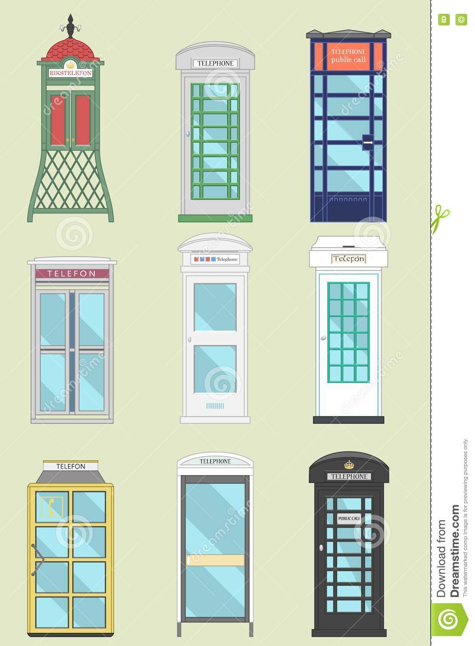 Set Of 9 United Kingdom Telephone Boxes From England, Scotland And