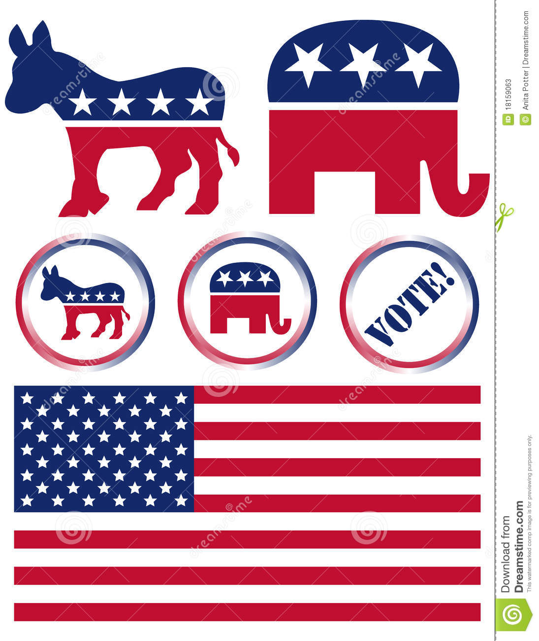 Set Of United States Political Party Symbols Editorial Stock Photo ...