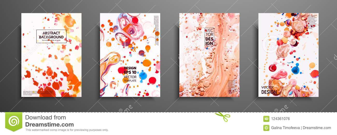 Set Of Universal Cards Fluid Art Hand Drawn Cards With