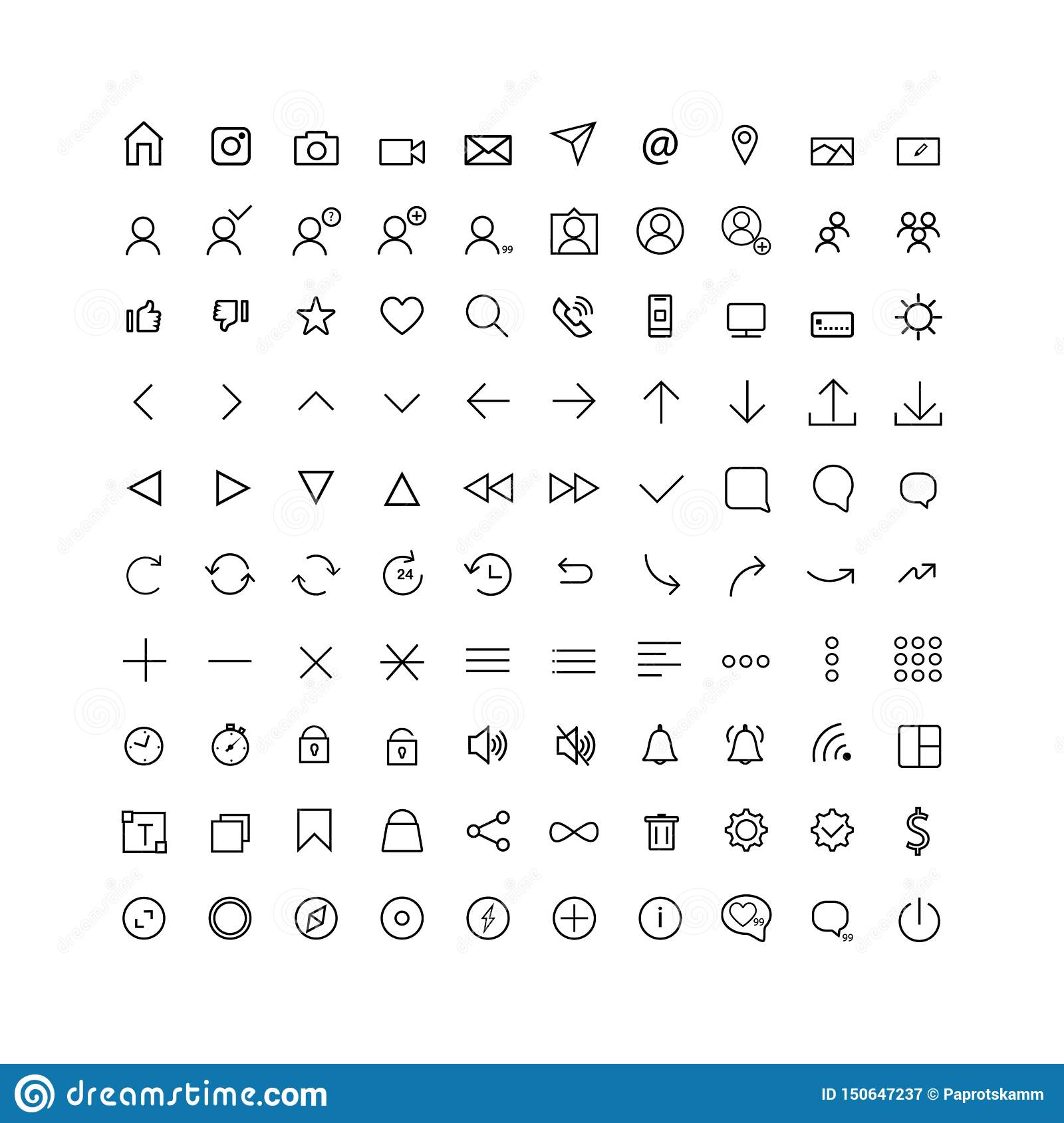 Set comunication icon for web and mobile, thin line