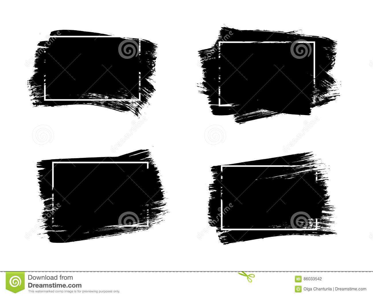 Set Of Universal Grunge Black Paint Background With Frame. Dirty ...