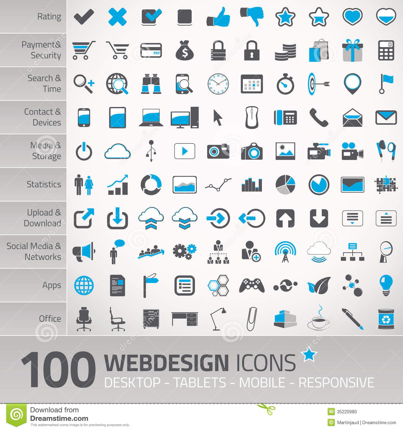 Set of universal icons for webdesign stock vector for Online architect services