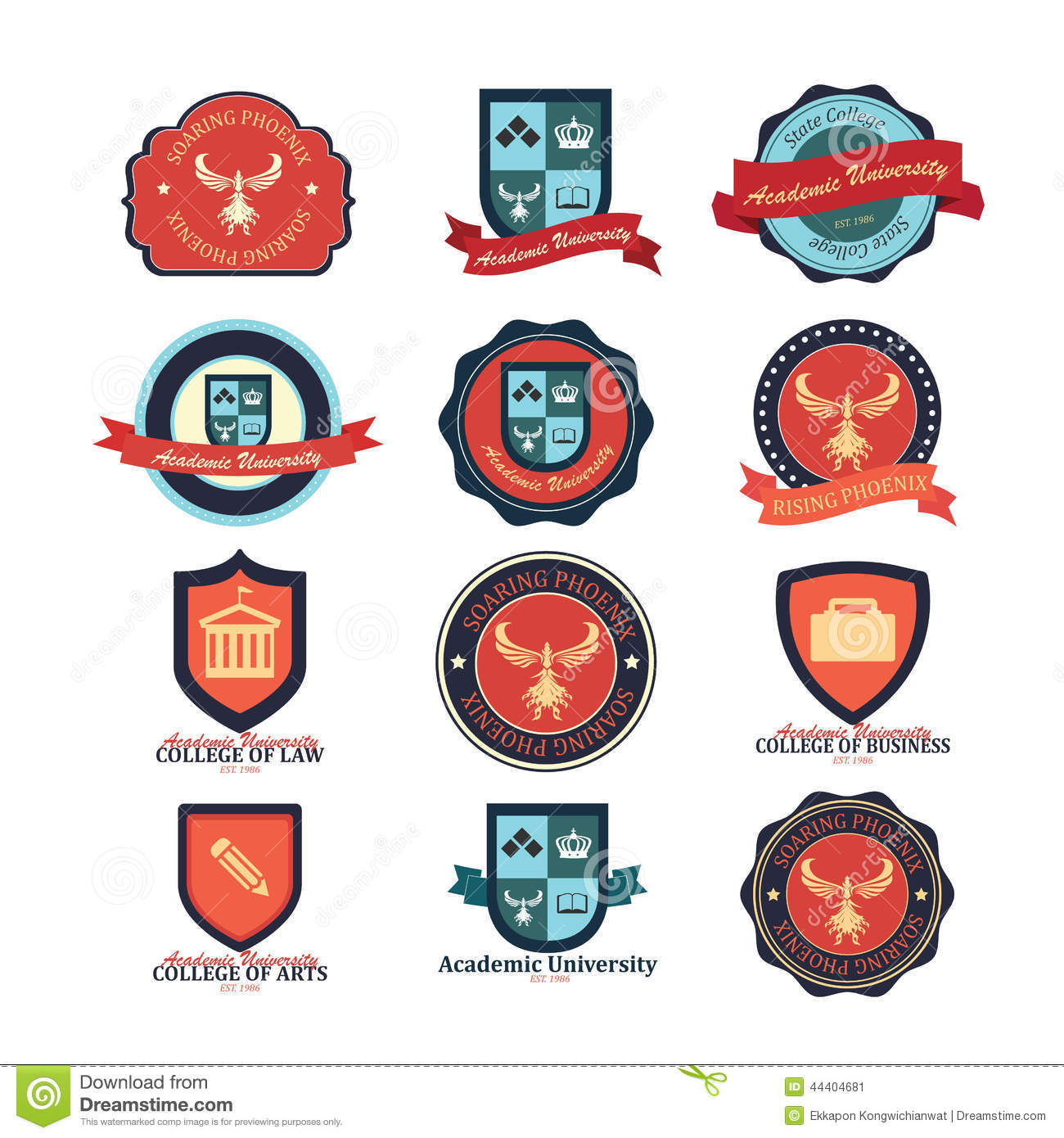 ... of university and college school and logo emblems. Illustrator eps10