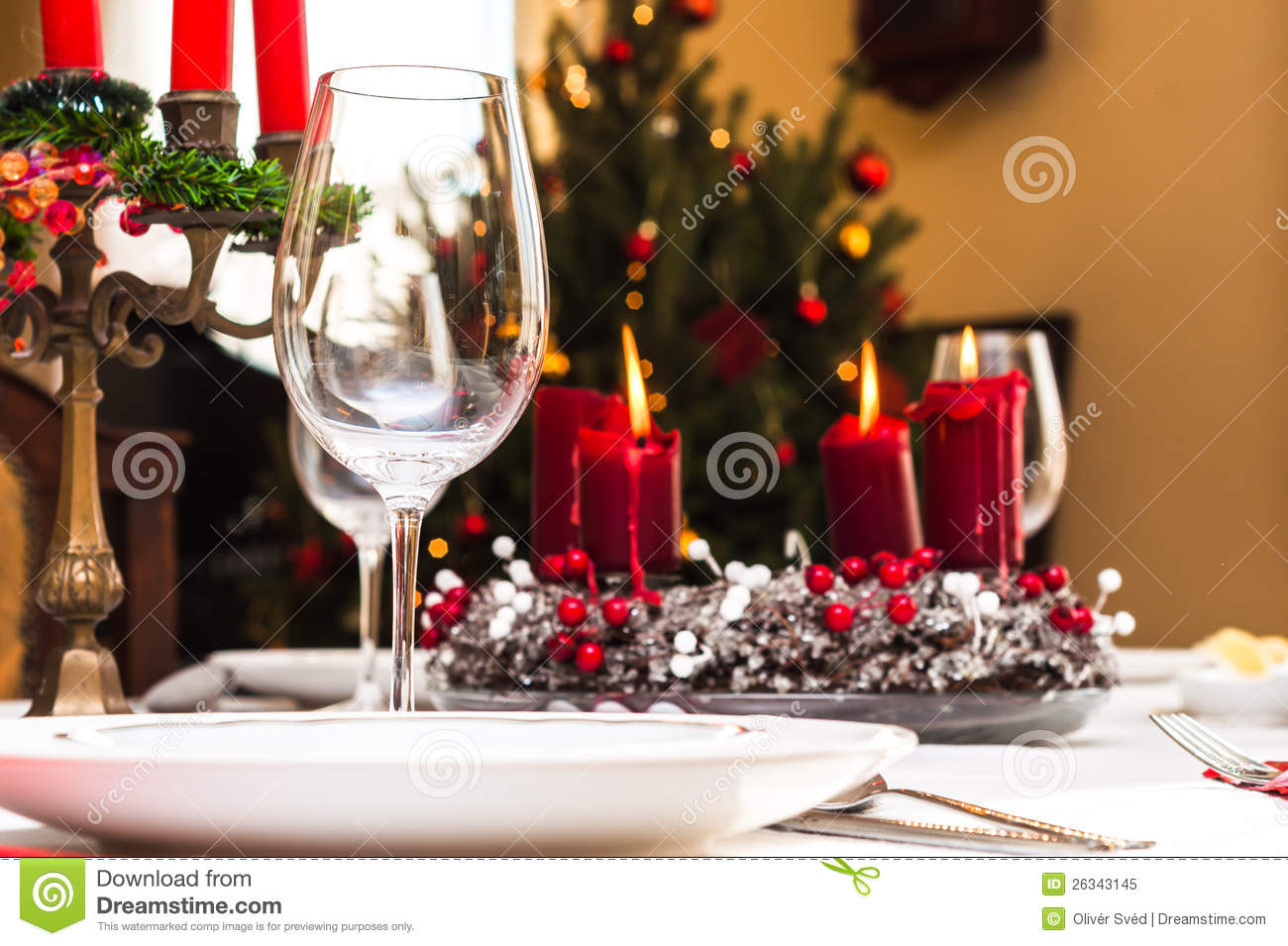 Set Up Christmas Table Stock Image Image Of Cloth Event 26343145