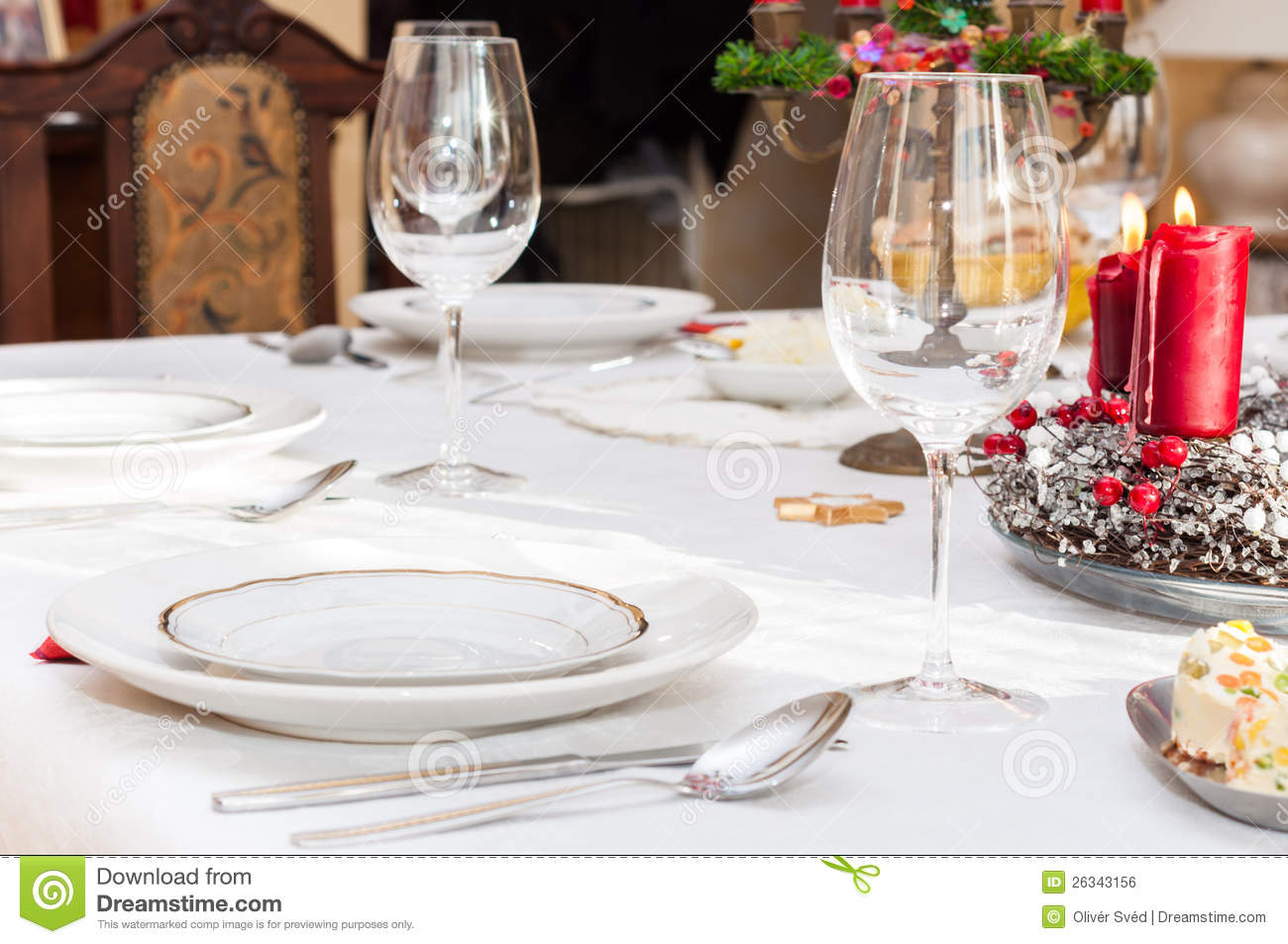 set up christmas table stock photo image of meal