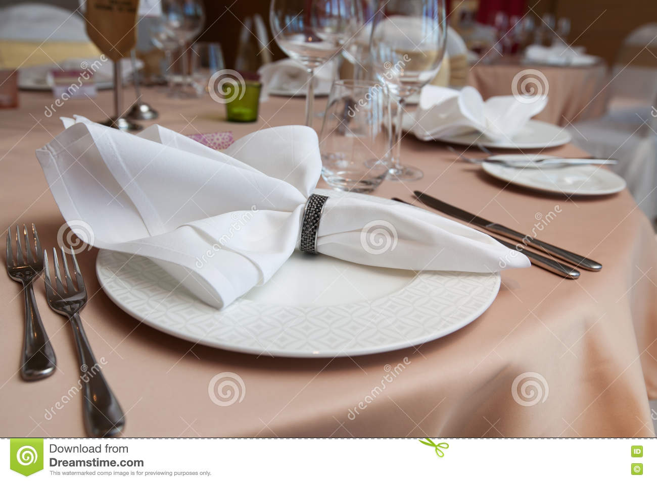 Set Up Dinner Room In The Hotel Folded Napkin Laid On