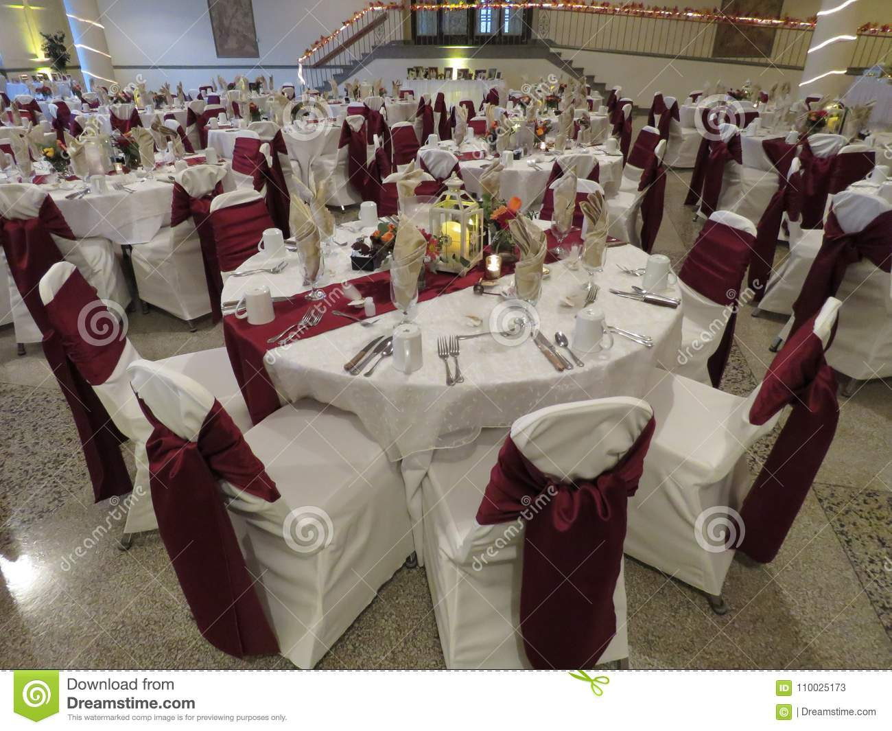 Wedding Reception Set-up With All Table Arrangements For Bridal ...