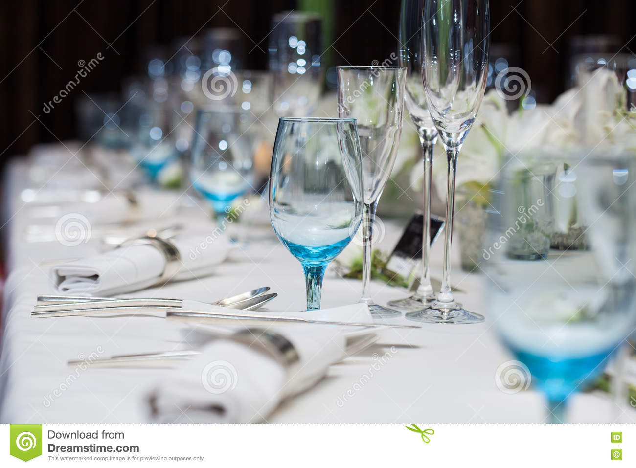 Set Up Wine Glass On The Table For Dinner Stock Image - Image of ...