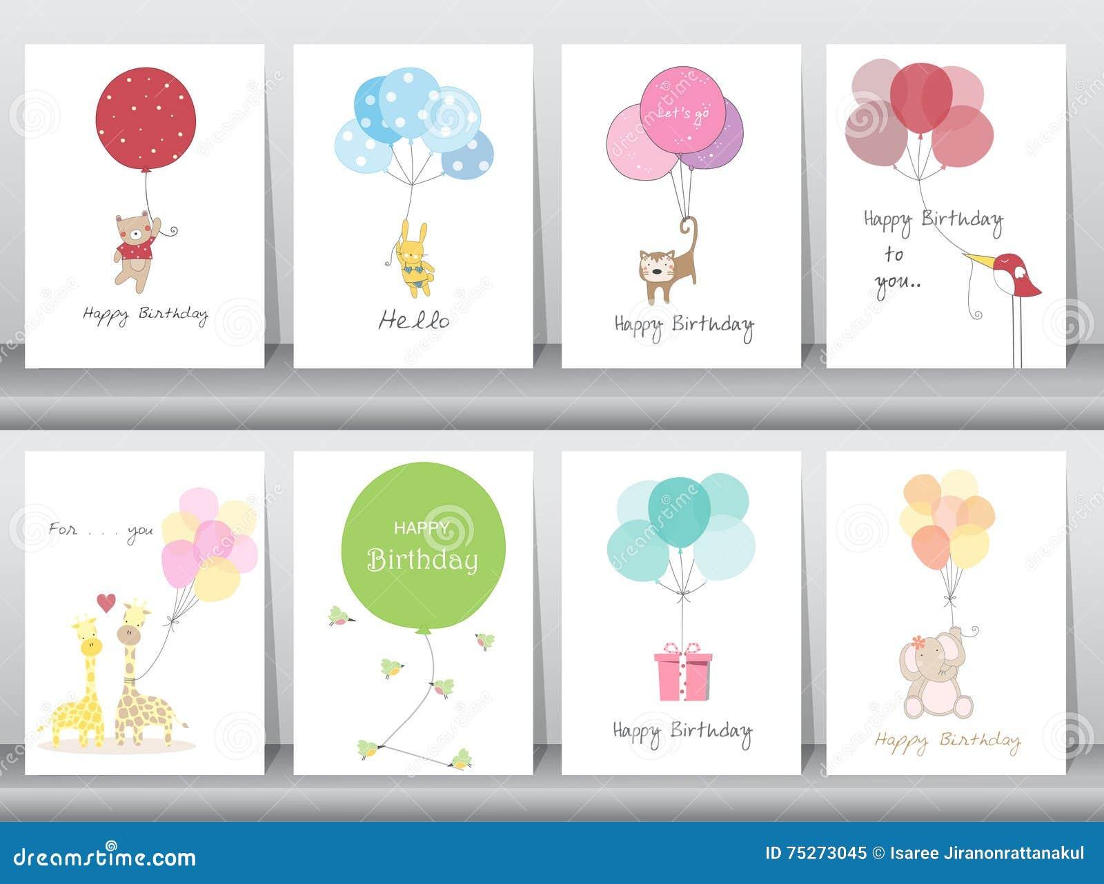 Set urodzinowe karty, plakat, szablon, kartka z pozdrowieniami, cukierki, balony, zwierzęta, Wektorowe ilustracje