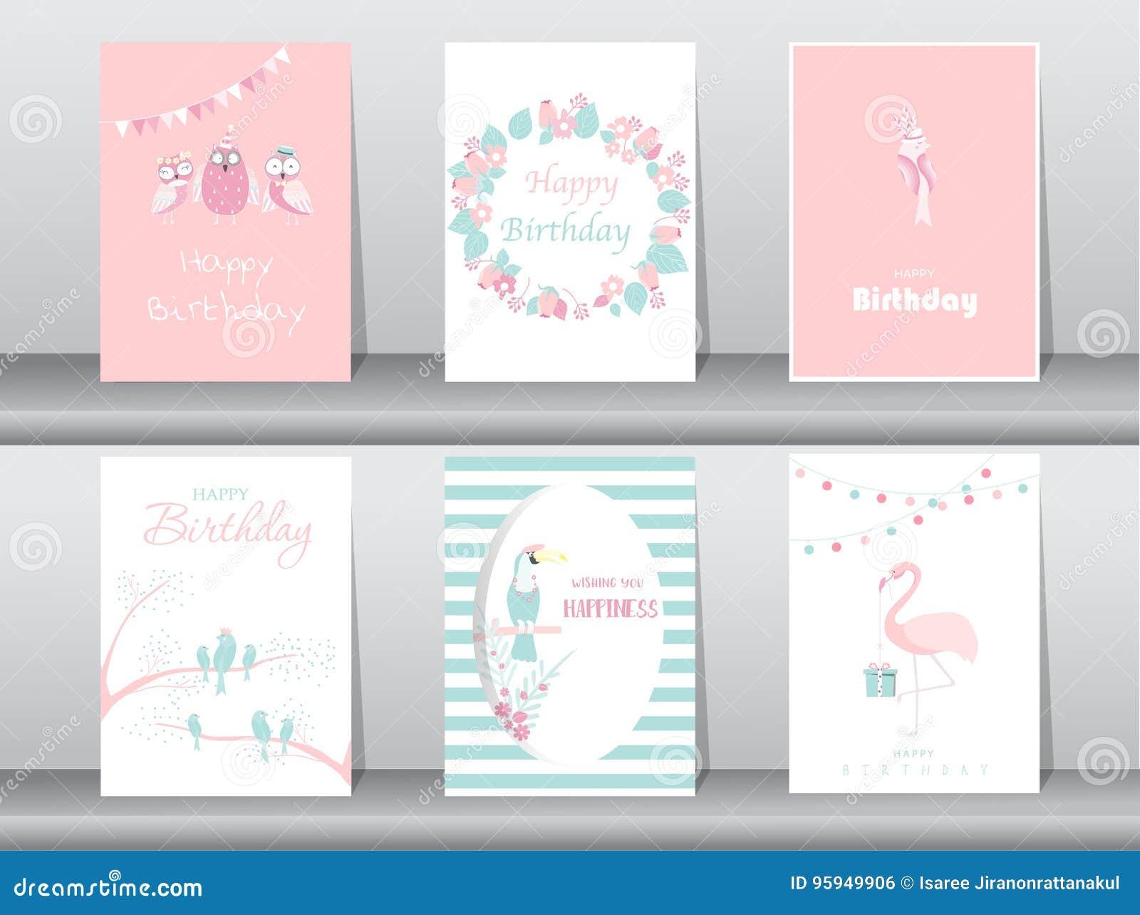 Set Urodzinowe Zaproszenie Karty Plakat Powitanie Szablon Ptak