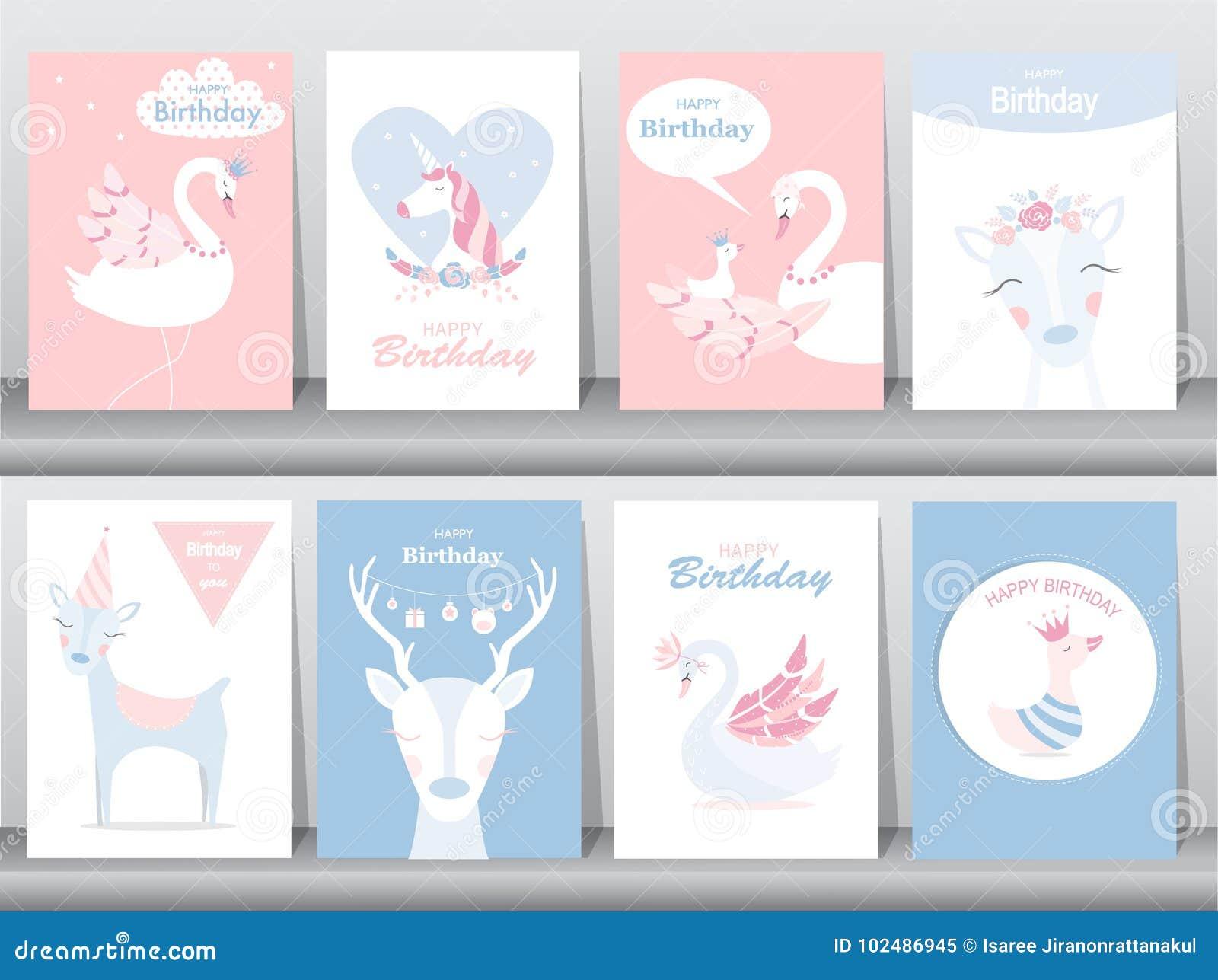 Set urodzinowe zaproszenie karty, plakat, powitanie, szablon, zwierzęta, jednorożec, bocian, kaczka, gąska, Wektorowe ilustracje