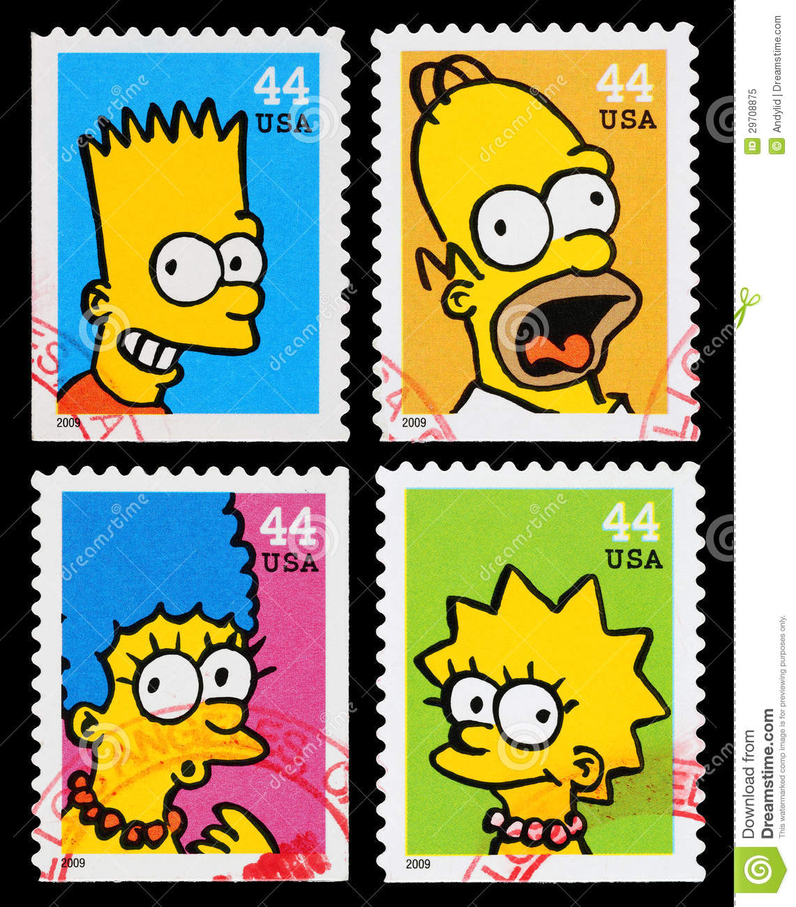 simpsons tv show postage stamps editorial image image of mail