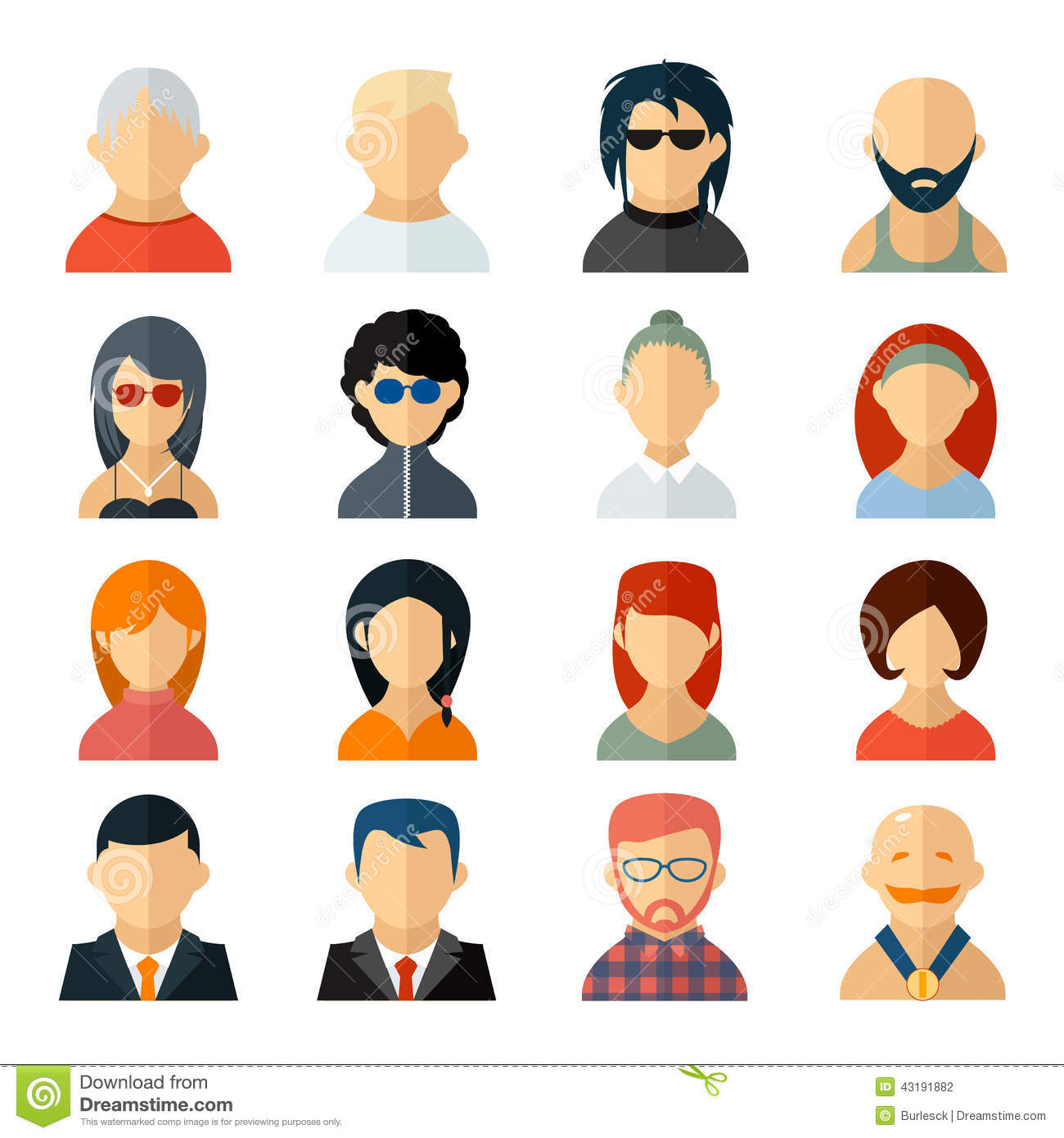 set of user avatar icons in flat style stock vector