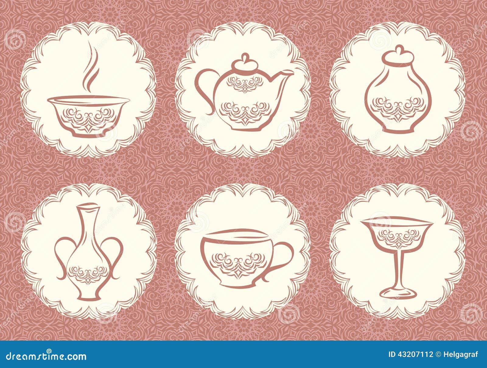 Download Set utensil för kök vektor illustrationer. Illustration av askfat - 43207112