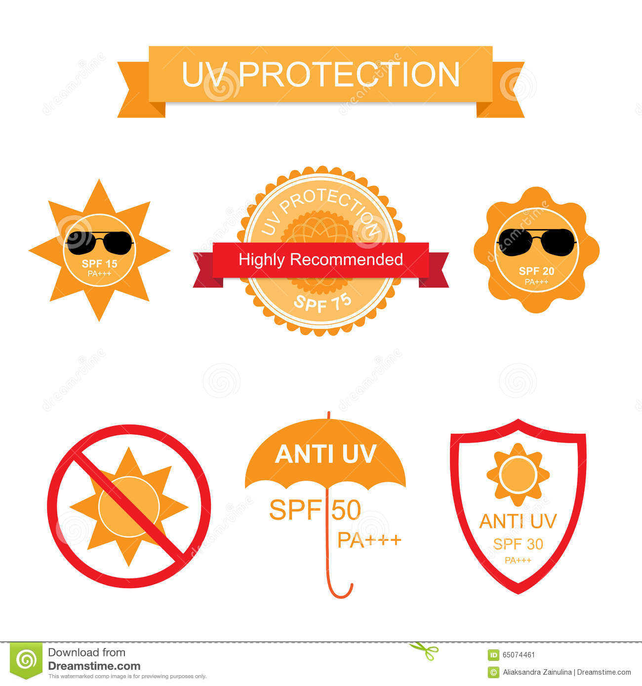 summer skin protection icons cartoon vector 73315683. Black Bedroom Furniture Sets. Home Design Ideas