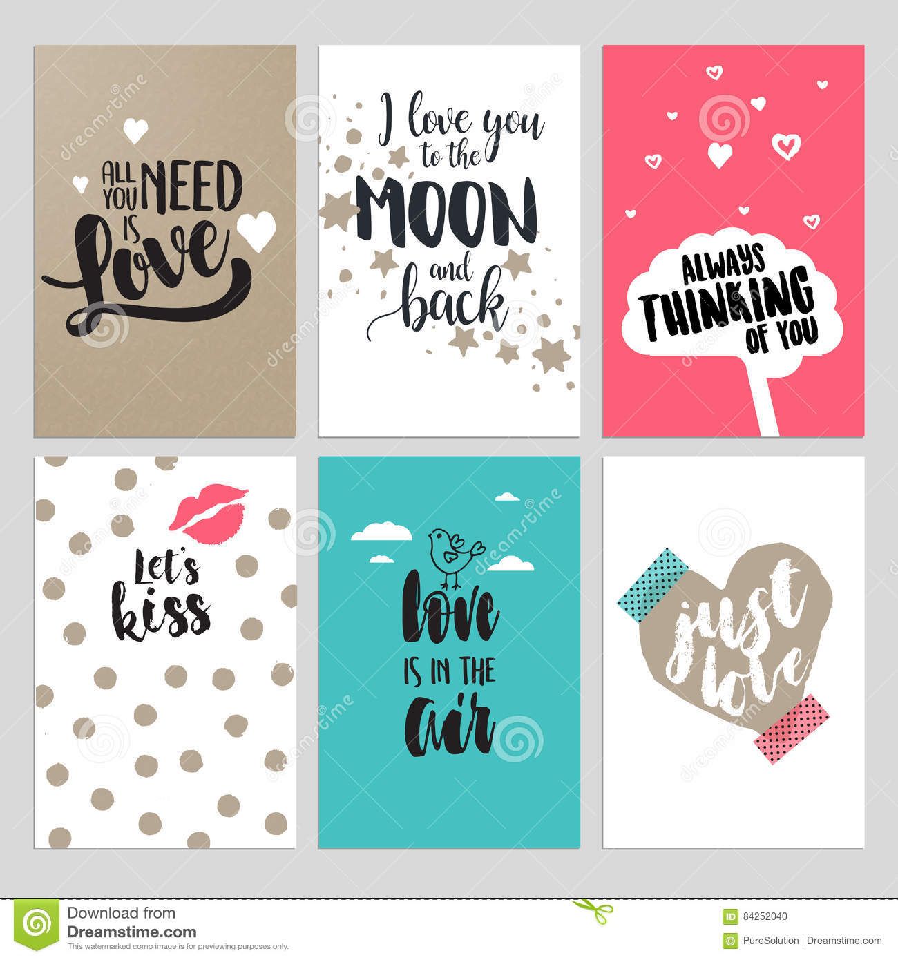 Set of valentine day greeting cards stock vector illustration of set of valentine day greeting cards flat design vector illustrations for love messages social media banners and covers website badges and banners m4hsunfo