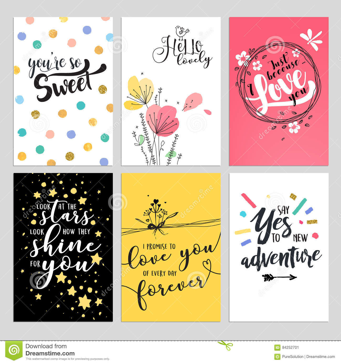 Set Of Valentine Day Greeting Cards Stock Vector Illustration Of