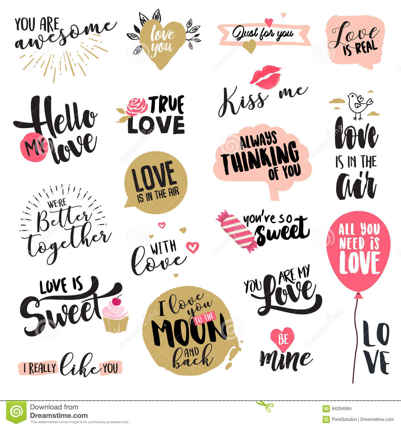 Set of valentine day stickers and badges stock vector illustration set of valentine day stickers and badges hand drawn vector illustrations for greeting cards love messages social media networking web design m4hsunfo