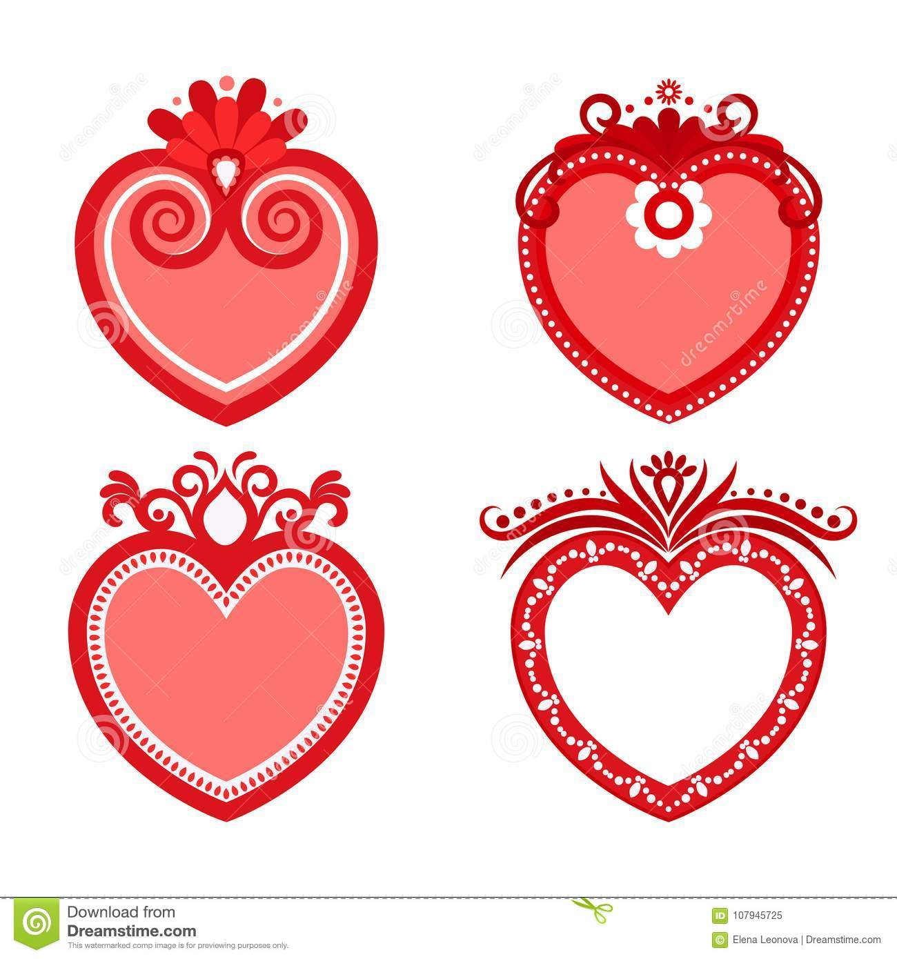 Set Of Valentine, Frames In The Form Of Red Hearts. Stock Vector ...
