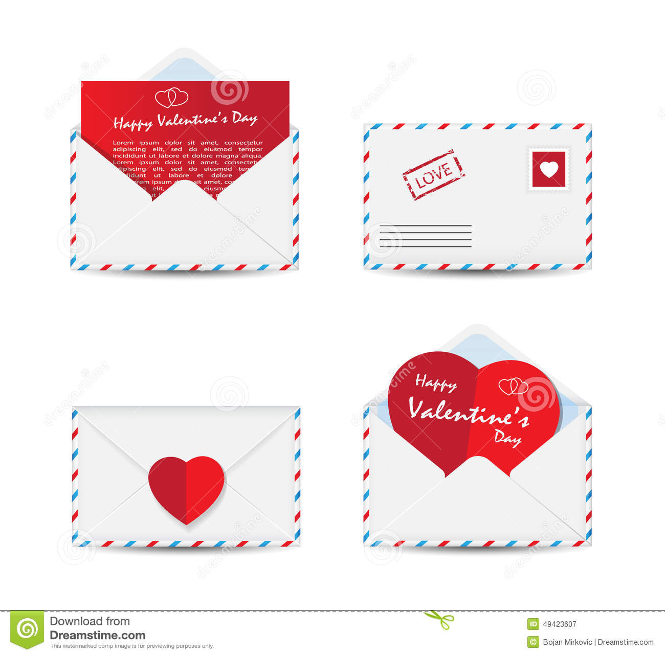 Set Of Valentine S Day Envelopes With Paper Red Hearts On White