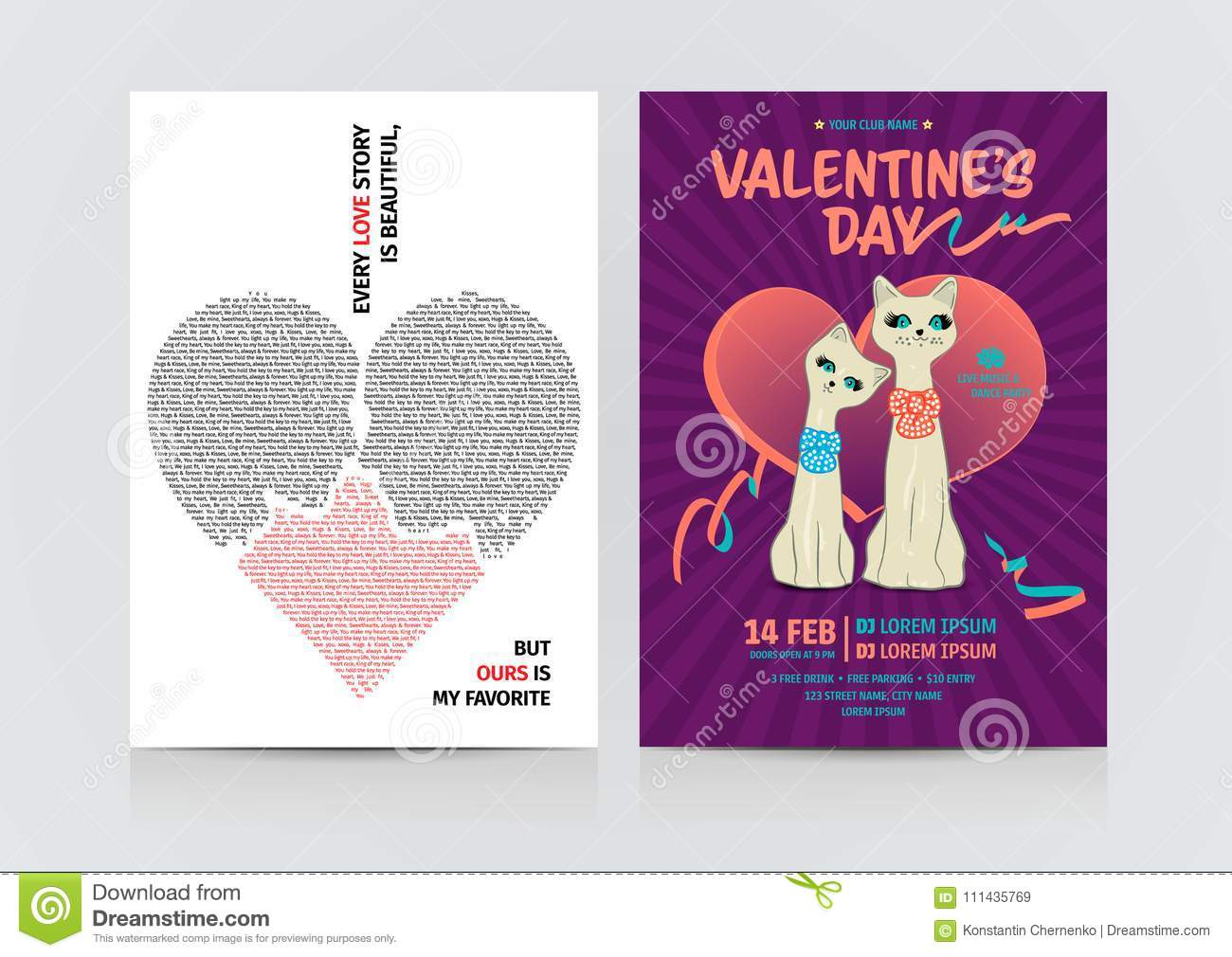 fb43a653c3 Set Of Valentine`s Day Flyers. Stock Vector - Illustration of couple ...