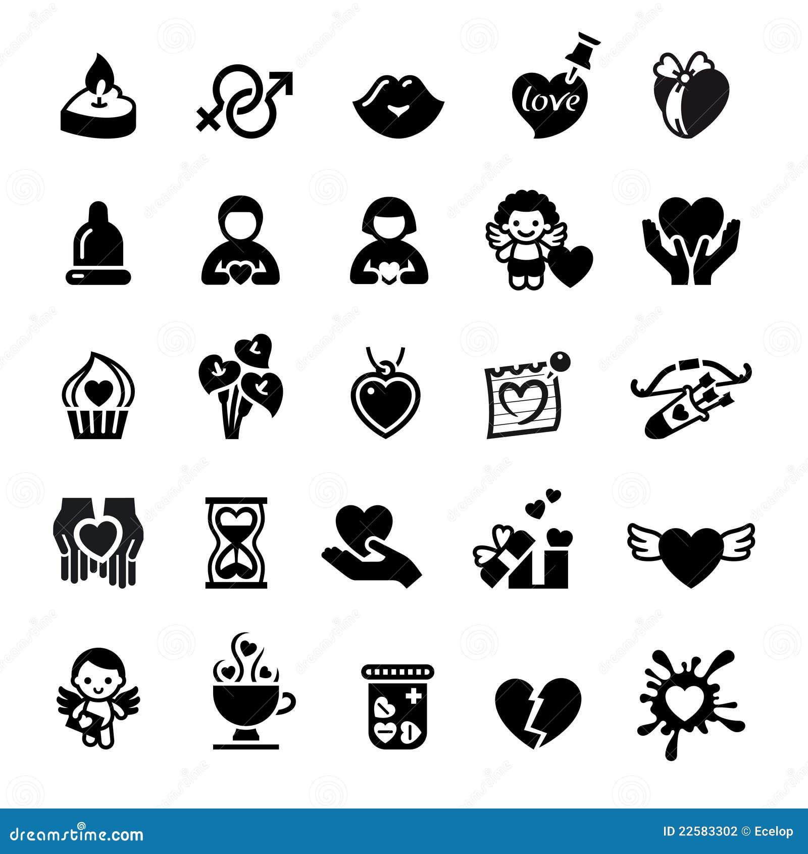 Set Valentine S Day Icons Love Romantic Sign Stock Vector