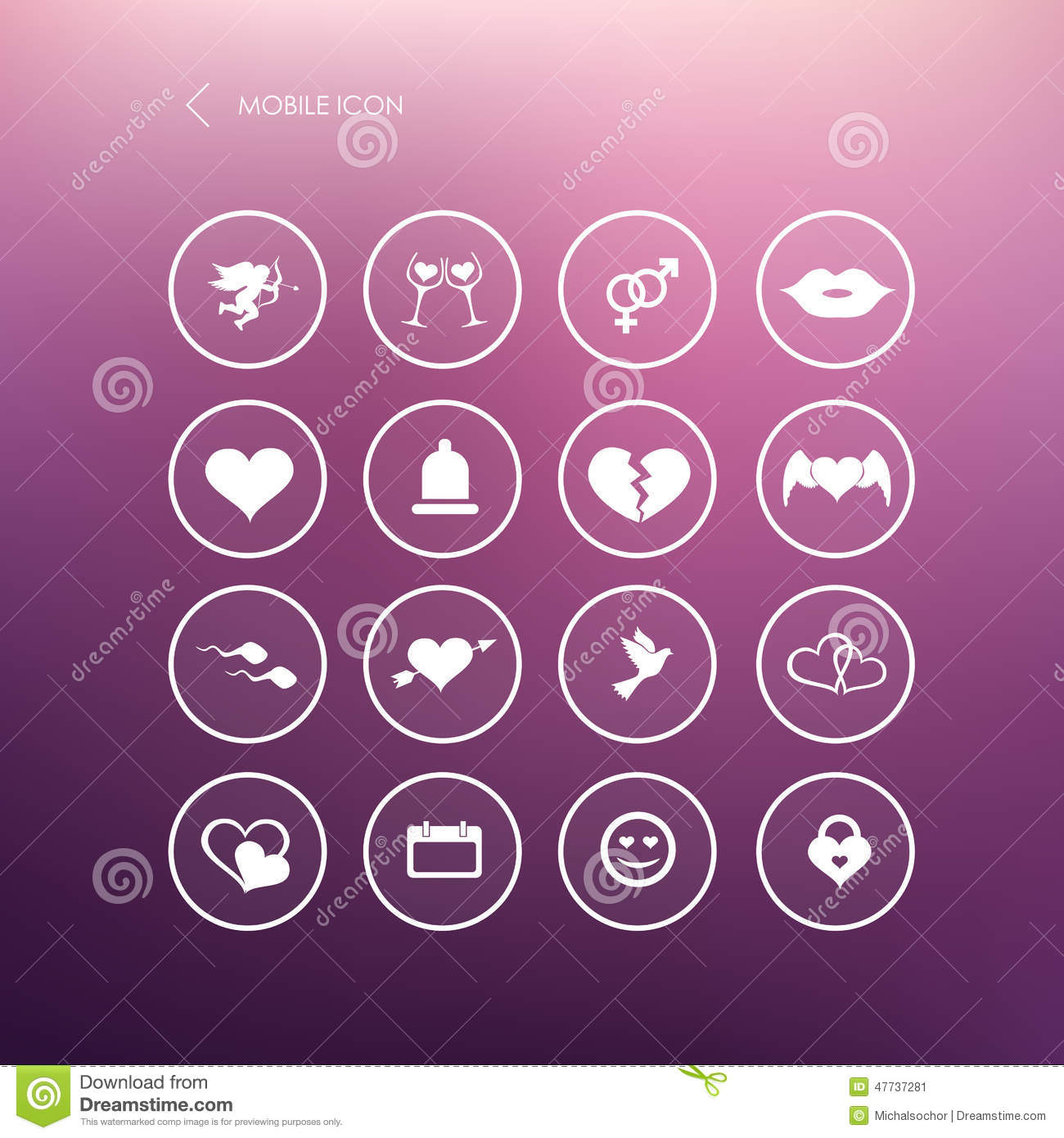 Set Valentines Day Mobile Icons Love On The Internet Symbols Stock