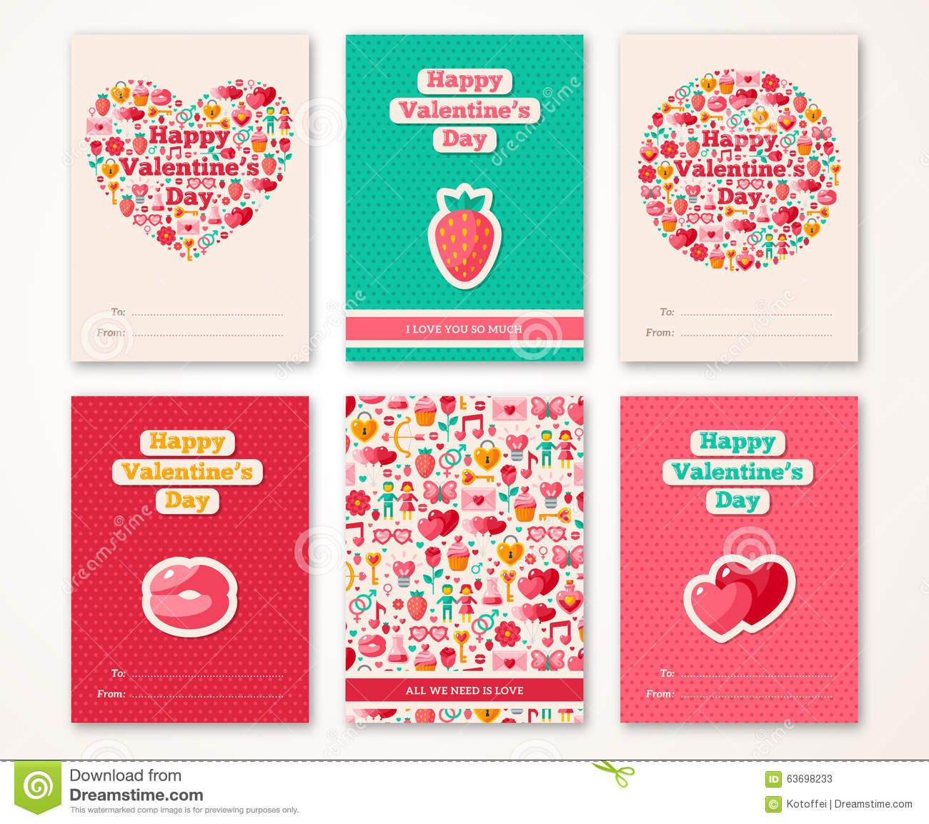 Set Of Valentines Day Brochures Template Stock Vector Illustration