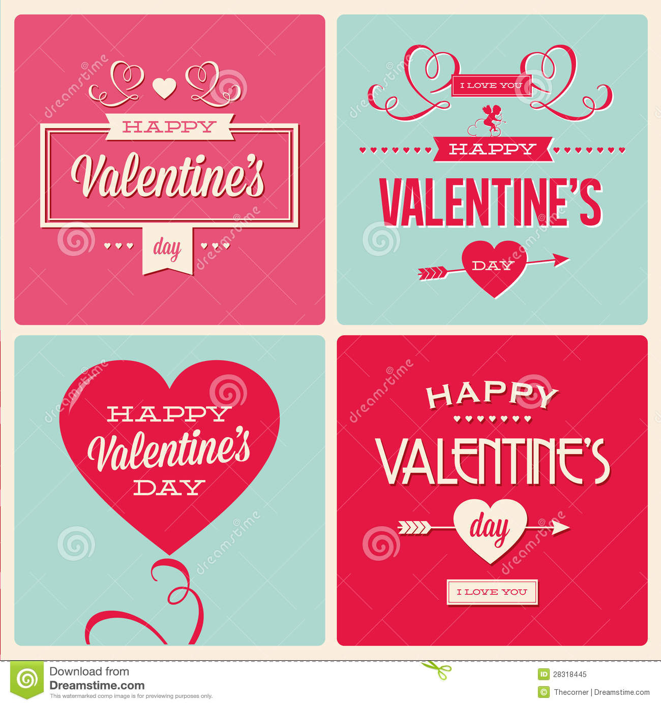 Set of valentines day card design royalty free stock photo for Designs for valentine cards