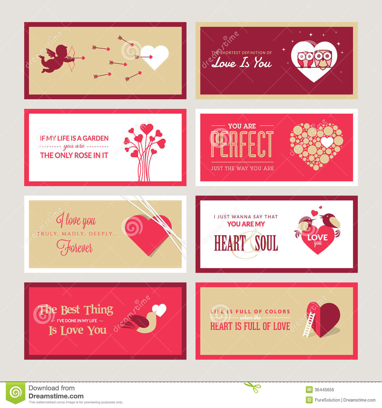 Set of valentines day greeting card templates stock vector set of valentines day greeting card templates m4hsunfo Image collections