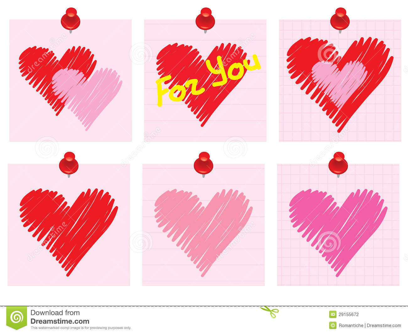 Set of valentines day notes stock photography image for Valentine notes for her