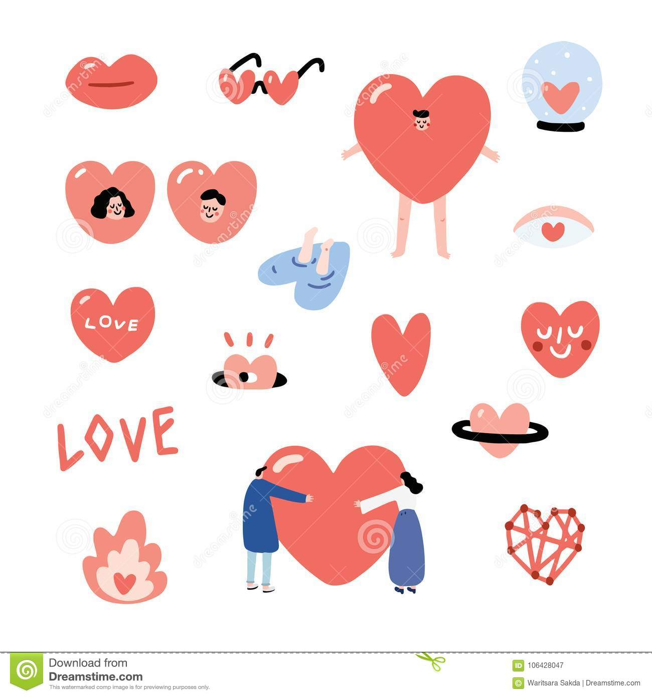 Set of Valentines hand drawn vector illustration with sunglasses,glass ball,man, girl,people hug,smiley. Heart character set.