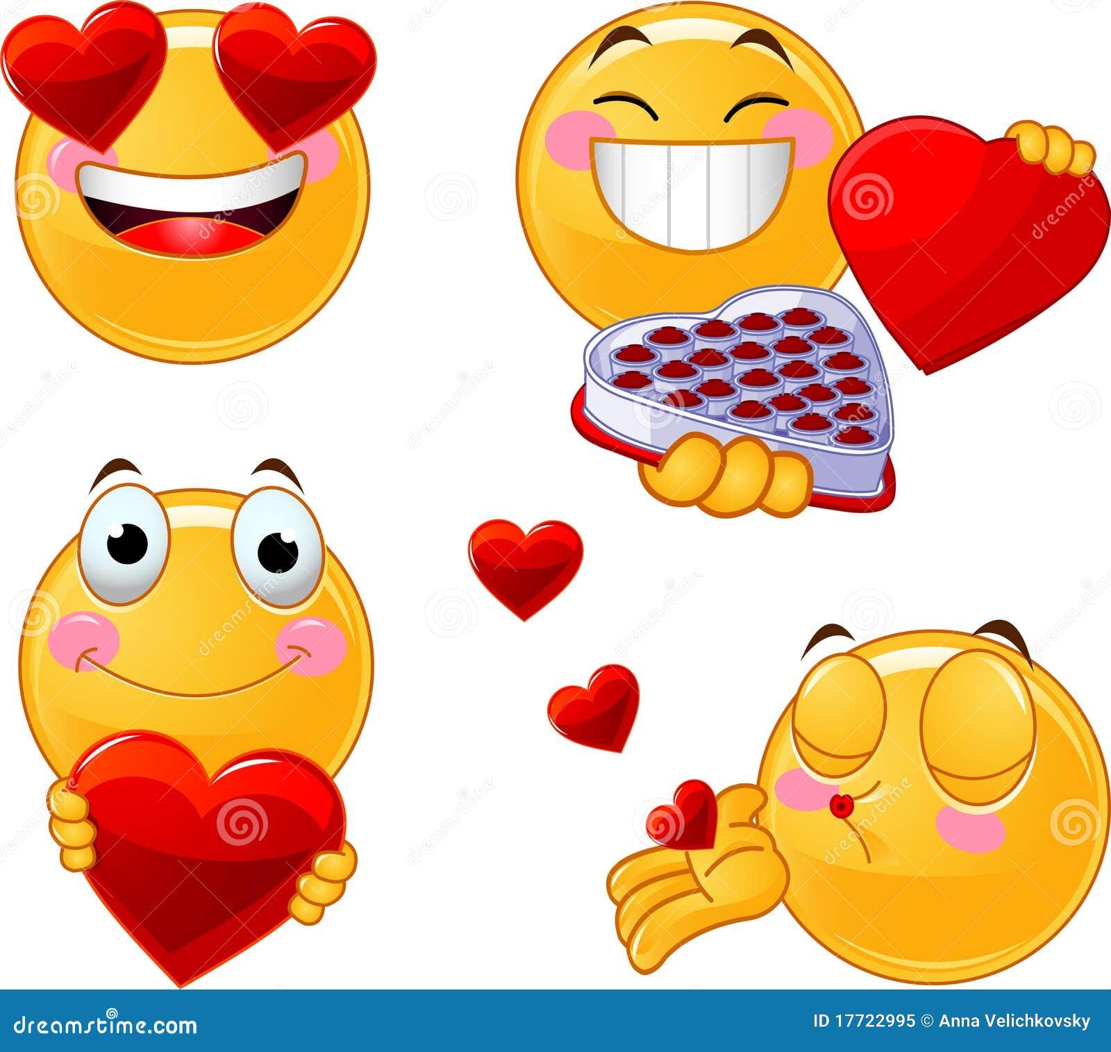 Set Of Valentines Smileys Emoticons Royalty Free Stock Photo - Image ...