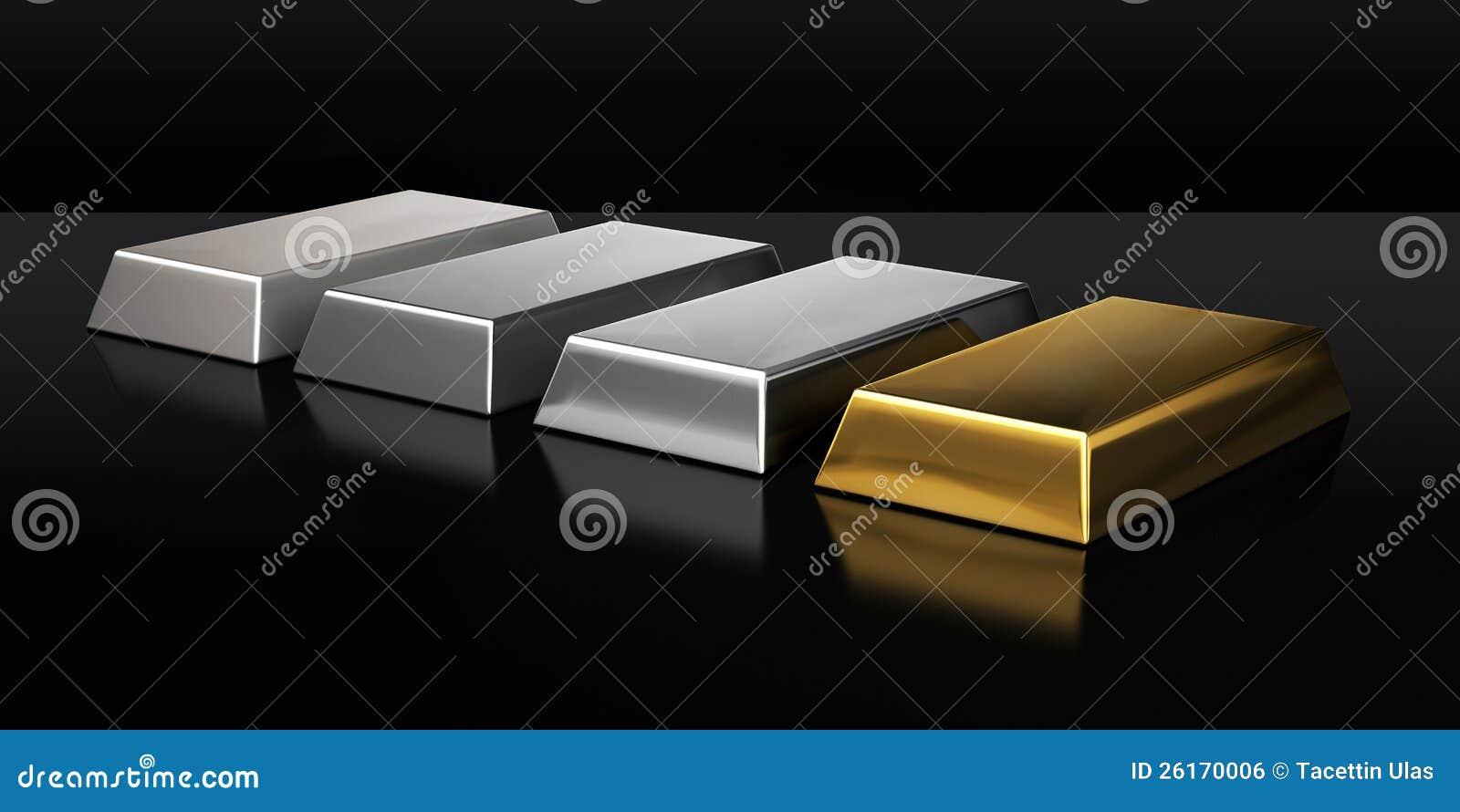Set of valuable metal ingots
