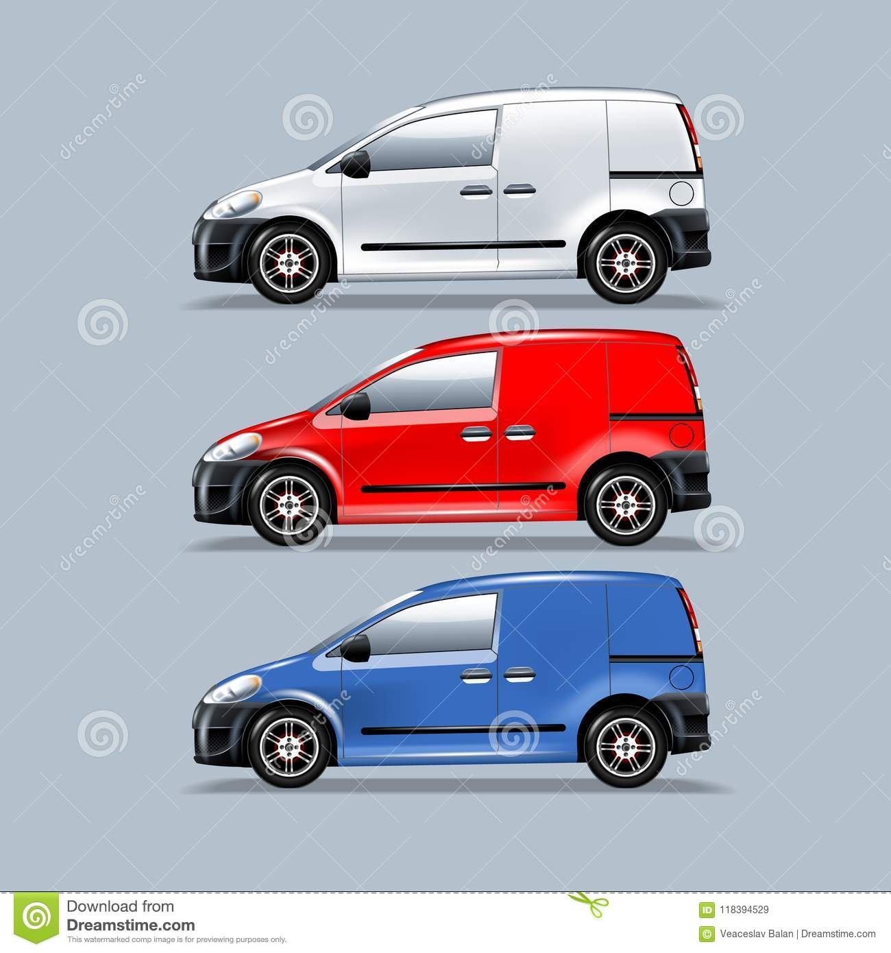 a set of vans for mounting your advertisement template in layers