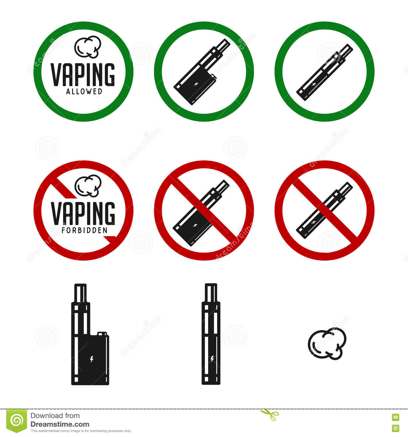 Vaping set vector cartoon vector - No smoking wallpaper download ...